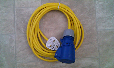 CARAVAN / MOTORHOME 10M ELECTRIC HOOK UP CONVERTER 13 to 16A YELLOW ARCTIC CABLE