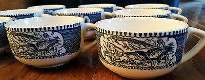 Royal China blue and white Currier and Ives coffee cups
