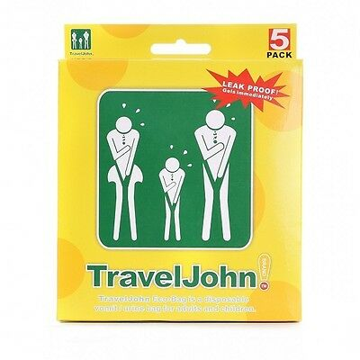 TravelJohn Travel John Disposable Vomit Urine Bags Emergency Toilet Unisex 5Pack