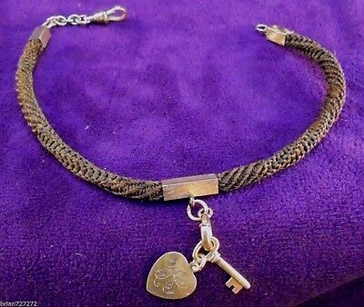"""Victorian 10"""" (260mm) Woven Hair Mourning Watch Fob Necklace Bracelet~w/Charms"""