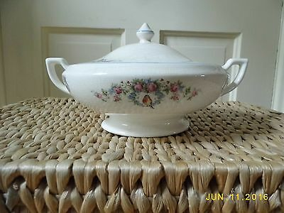 Vintage Ceramic Soup Tureen With Lid, Robbins And Roses With Blue Trim