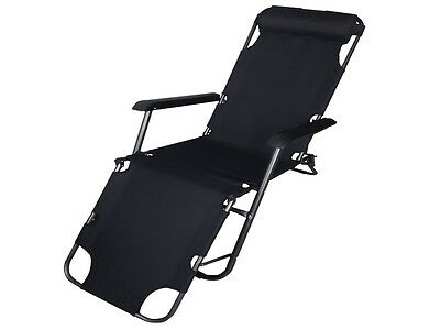 Folding Garden Outdoor Sun Lounger Gravity Deck Chair Recliner Bed Reclining