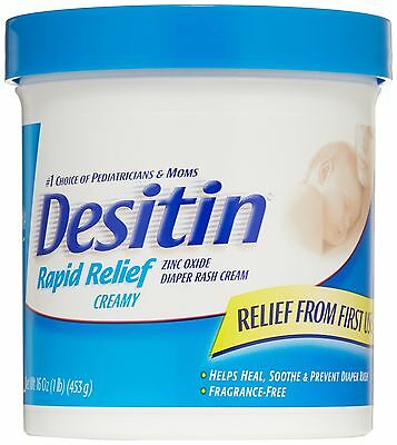 Desitin Diaper Rash Cream Rapid Relief 16-Ounce Jar Rapid Relief Creamy