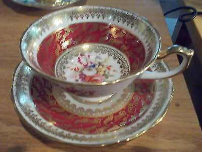 Hammersley Bone China Cup & Saucer - Floral Center w/Red & Gold Accents