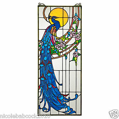Stained Glass Window Regal Royal Peacock W/ Roses In Rich Jeweled Tones