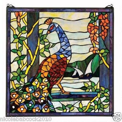 Peacock's Paradise Garden Stained Glass Window Hand Cut Cabochons authentic
