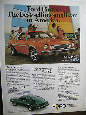 """1977 Ford Pinto Original Print Ad 8.5 x 10.5""""Ford Pinto 3 Door Runabout"""