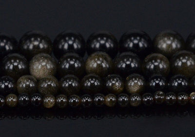 "Natural Golden Obsidian Gemstone Round Beads 15.5"" 4mm 6mm 8mm 10mm"