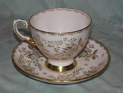 Vintage Tuscan Tea Cup and Saucer Floral Design in Pink and Gold Bone China Eng