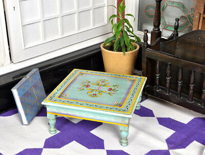 Antique Wood Furniture Side Chowki Table Painted Low Square Table Christmas Gift