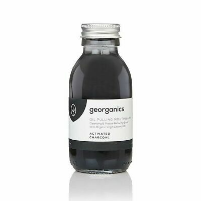 Georganics Natural Coconut Oil Pulling Mouthwash, Activated Whitening Charcoal
