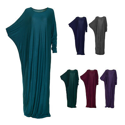 Womens Islamic Modest Plain Batwing Abaya Kaftan Jilbab Jersey Maxi Long Dress