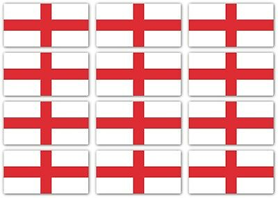 St Georges Cross England Flag Laminated Sticker Small 12x 45x22mm motorbike Bike