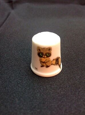 Thimble Hand Painted By Helen Porcelain Bisque Raccoon Vintage