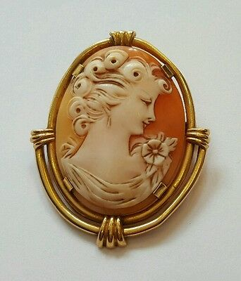 Superbe Broche Ancienne - Camée Coquillage Avec Monture Or 18 Carats - Jewel !