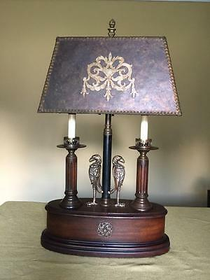 Vintage Arts and Crafts Double Candle Wood/Brass Lamp with Mica Shade