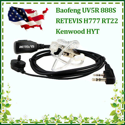 10*2-PIN Covert Air Acoustic Earpiece Headset for Kenwood BFUV5R Retevis H777