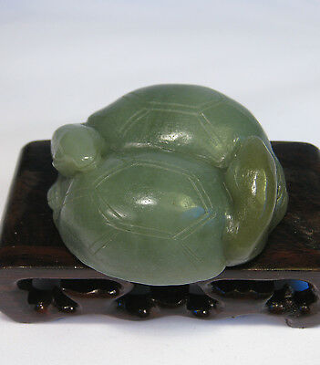 Chinese old jade carved couple turtle statue