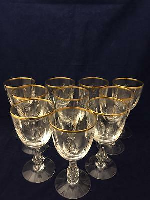 Antique Chalet Tiffin Franciscan Crystal Glasses Etched w/ Gold Border Set of 10