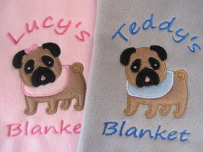 Personalised Dog / Puppy Blanket - Soft Fleece - PUG FAWN or BLACK- Embroidered