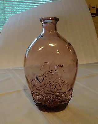 Purple / Amethyst Glass Container / Bottle with Raised Motif