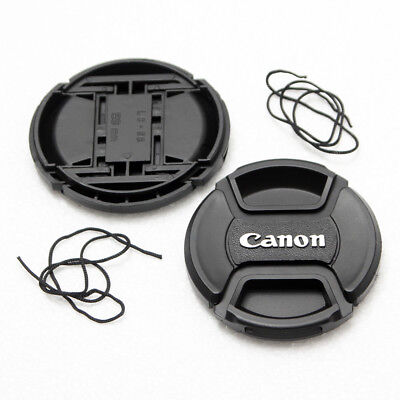 2X 58mm Center-Pinch Snap-On Front Lens Cap For Canon DSLR Lens With Cord NEW