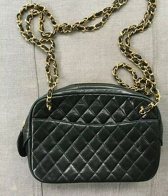 Vintage Authentic CHANEL  Quilted Navy LAMBSKIN Shoulder Handbag