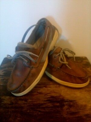 Pre-owned Women's Sperry Top-Sider Tan Beige Leather Boat Shoes Size 7M
