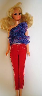 1966 BARBIE BLONDE ROOTED EYE LASHES Bendable Leg doll 2 outfits