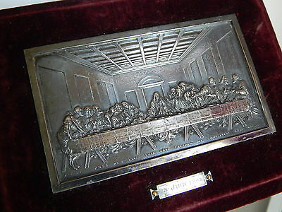 Antique French Religious silverd Medal  on wood ,reliquary frame - last supper