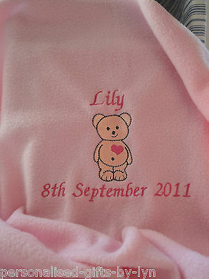 PERSONALISED Baby Blanket Teddy Heart design Choice of 5 blanket colours. F3