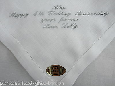 100% Irish Linen Personalised Handkerchief + Gift Box