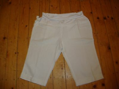 BNWT MATERNITY White Linen Blend Roll Top Cropped Trousers Size 14