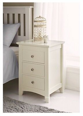 High Quality Elegant Cream Solid Wooden 3 Drawer Bed Side Table Cabinet Lamp New