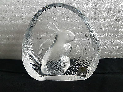 Mats Jonasson Full Lead Crystal Glass Paperweight with Etched Rabbit Design