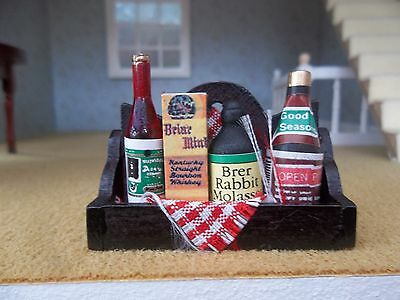 Dolls House Miniatures 1/12th Scale Accessory Wooden Rack & Groceries New (D347)
