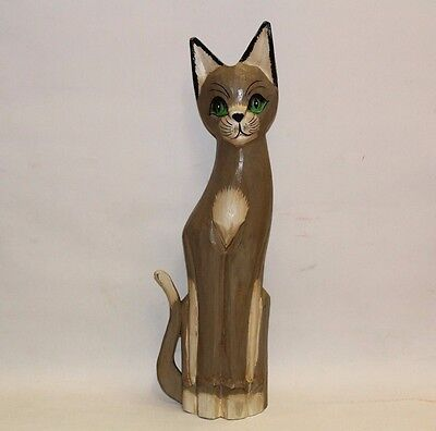 Large wooden hand painted cat statue 19""