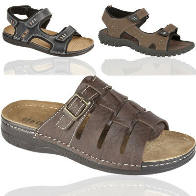 Mens Velcro Sandals Adventure Walking Sports Hiking Summer Beach Mule Shoes Size