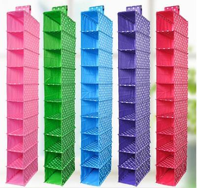 10 Shelf Shoe Organizer Closet Hanging Cloths Bra Holder Bag Box