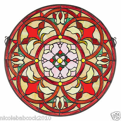 """20"""" Baroque Floral Tiffany Style Stained Glass Window Panel Medallion • CAD $363.59"""