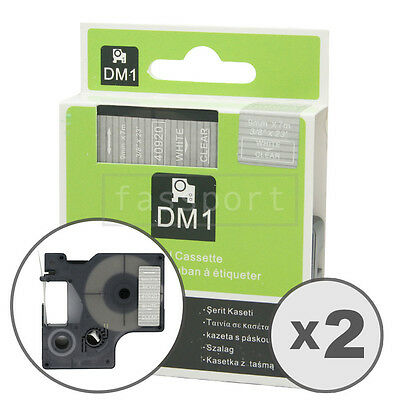 2pk White on Clear Tape Label Compatible for DYMO 40920 D1 9mm 3/8""