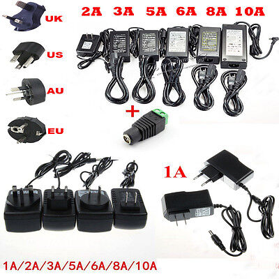 DC12V 1A/2A/5A/6A/8A/10A Power Supply Charger Adapter Transformer For LED Strips