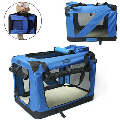 Large XL XXL Pet Soft Crate Portable Dog Cat Carrier Travel Cage Kennel - Blue