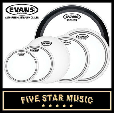 "Evans Ec2S Frosted 6 Pce Drum Skin Rock Emad Set 10"" 12"" 14"" 14"" 16"" 22"" Heads"
