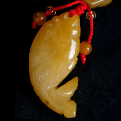 Lucky Pendant Beautiful Luck Hand-Carved Pendant, Natural Yellow Jade Fine Fish
