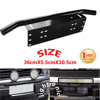 23'' Car SUV Bull Bar Front Bumper License Plate Mount Bracket LED Work Light