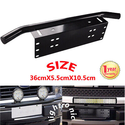 Black Car Bull Bar Bumper License Plate Mount Bracket Holder LED Working Lights