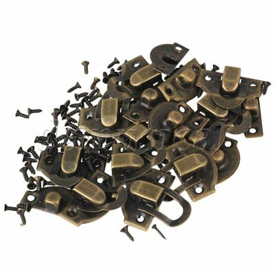 Bronze Vintage Jewelry Box Wooden Case Mini Buckle Shackle Set of 10