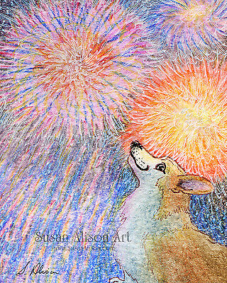 Welsh corgi dog 8x10 print bangless fireworks celebration party by Susan Alison