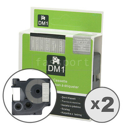 """2pk White on Clear Tape Label Compatible for DYMO 45810 D1 19mm 3/4"""""""